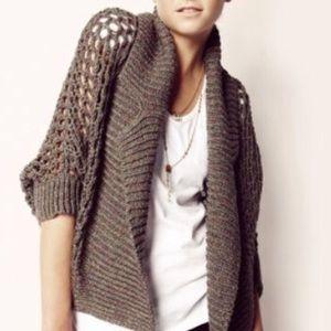 Yoon Anthropologie Crochet Open Front Cardigan